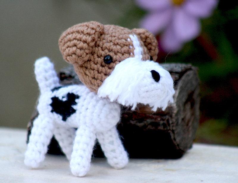 Fox Terrier Amigurumi Patron : Dog fox terrier amigurumi crochet stuff animal by aminfriends