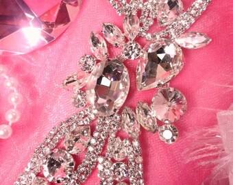 """XR143 Silver Crystal Rhinestone Applique Embellishment 5.75"""" Sewing Craft Motif  (XR143-slcr)"""
