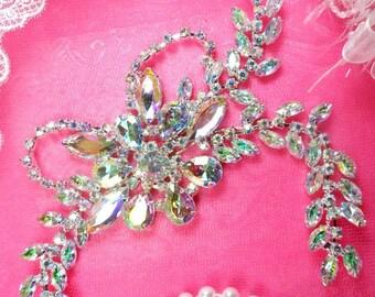 """XR119 Crystal Aurora Borealis Rhinestone Applique Embellishment 7.5"""" (XR119-slcab)"""