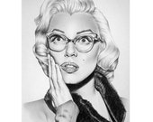 Marilyn Monroe Pencil Drawing Fine Art Portrait Signed Print - IleanaHunter
