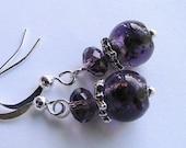 Purple Glass Beaded Dangle Earrings - Violet, Deep Purple, Bridal, Bridesmaids, Wedding, Dangle earrings