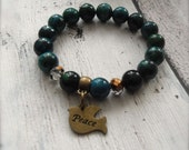 Stretch Bracelet Chrysocolla Gemstone Blue Green Healing Stone Jewelry Peace Bracelet -  Peace