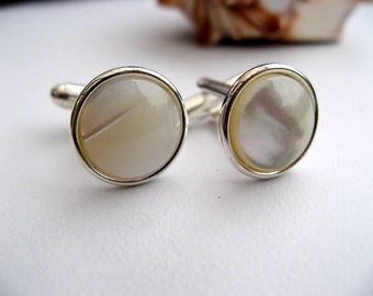 Mother of Pearl Inlay Cuff Links, Sterling Silver Plated Cufflinks - White Shell - Men - Wedding - Groomsmen Gift