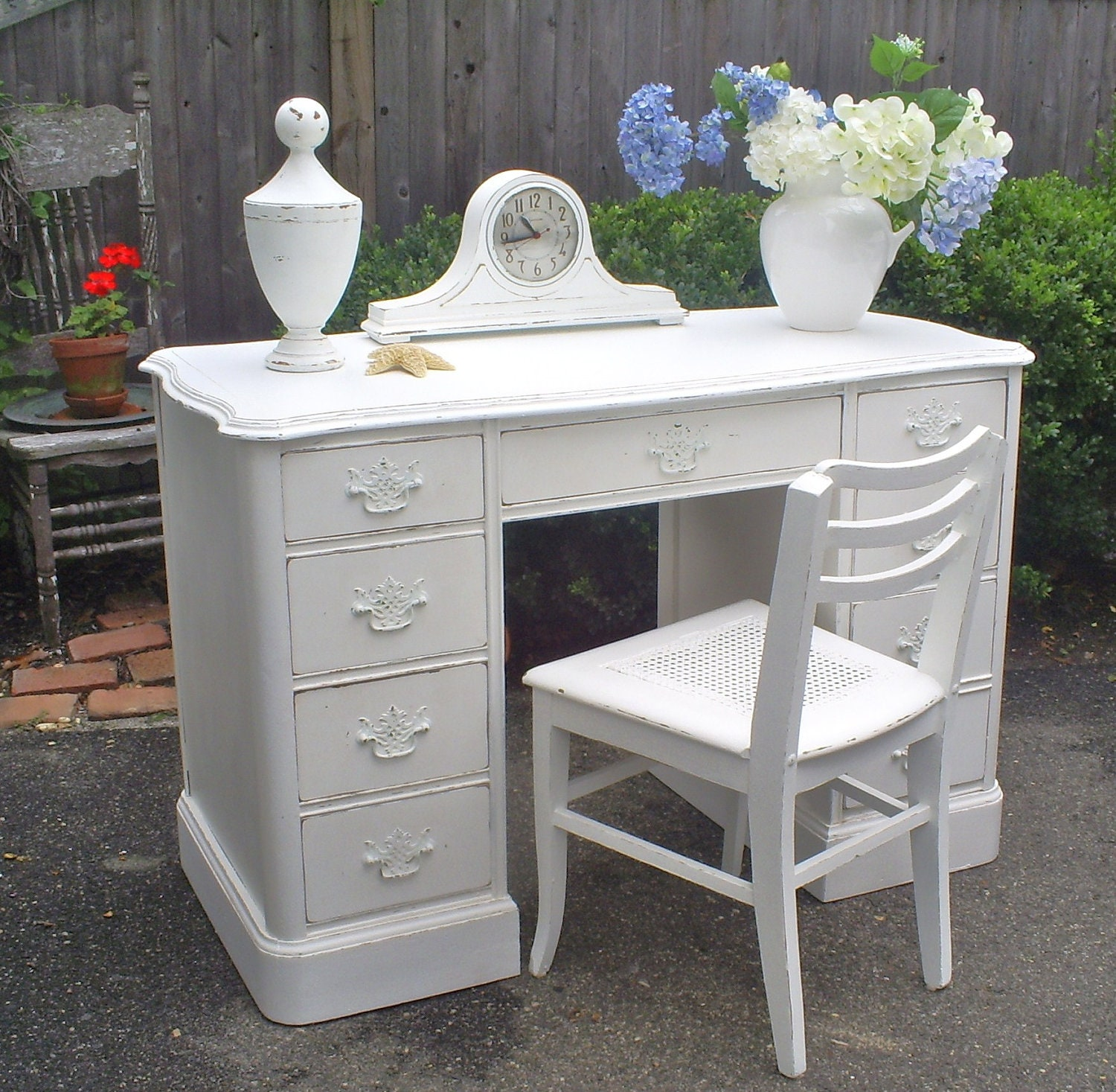 desk white shabby chic painted furniture by backporchco on