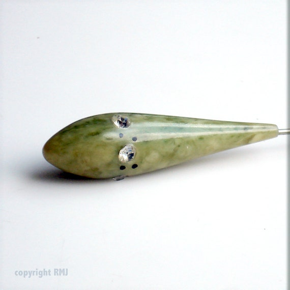 Art Deco Sage Green Celluloide Cloche or Jabot Pin