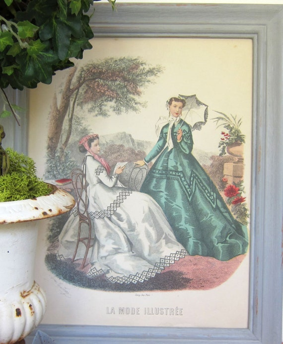 Vintage La Mode Illustree Framed Fashion Plate French Shabby Chic