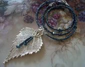 Real Birch Leaf in Silver with Vintage Blue Cut Glass Beads and Swarovski Crystals