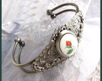 Cuff Style Antiqued Sterling Red Rose - Bracelet  DC 8293