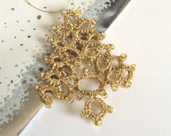 Beaded Gold Christmas Tree Decoration in Tatting - Fenella - Large