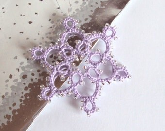 Lilac, Silver Beaded Christmas Decoration in Tatting - Celyna - Small