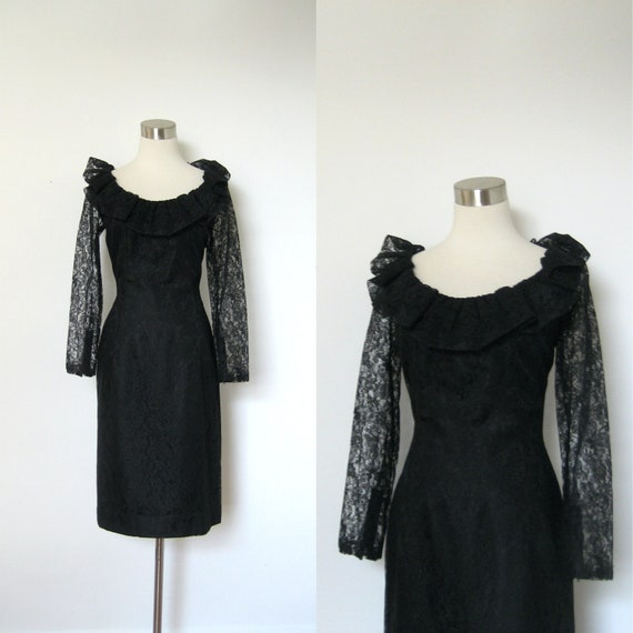 Reserved-1960s Dress / 60s Black Lace Ruffled Cocktail Dress / Long Sleeve (M L)