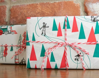 3 yards of vintage ice skating and tree christmas wrapping paper