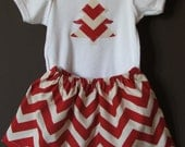 Red White Chevron Christmas Tree Holiday Onesie Skirt Outfit 24 month