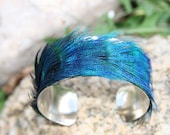 Peacock Feather Cuff Bracelet - Purple, Blue and Green - Genuine and natural feathers