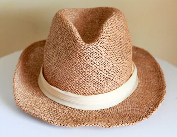 Vintage XL Straw Fedora Hat - Summer Hat for Him