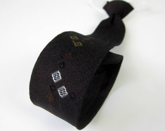 "Boys Dark Brown 13.5"" Clip-On Tie 50s / Vintage Desmonds of California / Classic Skinny Tie, Mad Men, Rock-A-Billy"