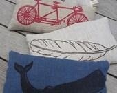 aromatherapy lavender linen hemp organic cotton eye pillow (black whale on cobalt)