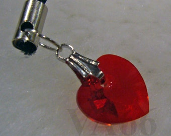 Choose Color Swarovski Crystal Heart Cell Phone Keychain, purse Charm Dangle, Bridal Party Favors, Charms