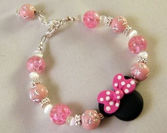 Mouse with Polka Dot Bow Bracelet in Light Pink and Hot Pink B067