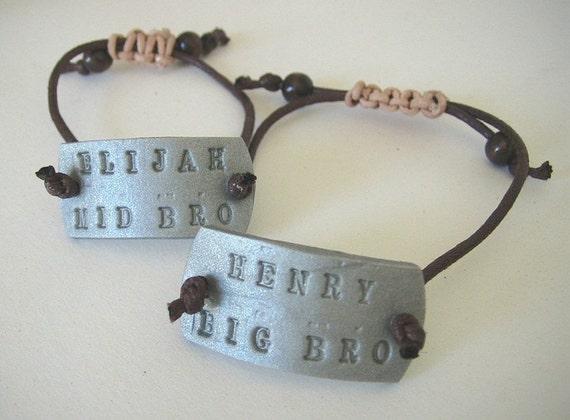 Big Brother Bracelet Dog Tag ID Bracelet Little Brother or Middle Brother B157