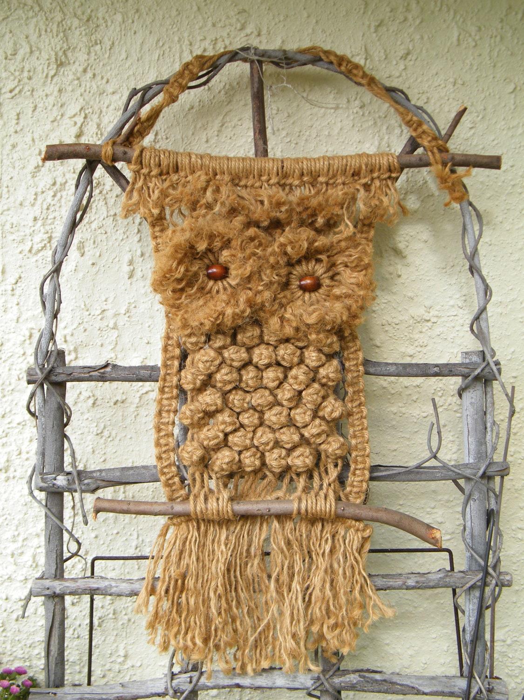 Owl Macrame Owl Vintage Owl Wall Hanging