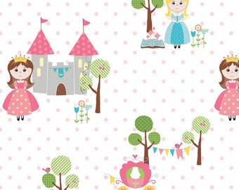 oop htf 24 inches Happy Ever After RB Fabric Princess Castle Fairy Tale Princesses Pink Polka Dot Dots