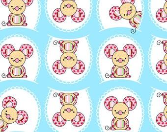 Toy Tales WB Fabric Cute Little Polka Dot Mice Ma Belle Mouse on Aqua Blue
