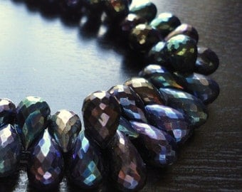 Rainbow Mystic Spinel Faceted Teardrop Briolettes (No. 1562)