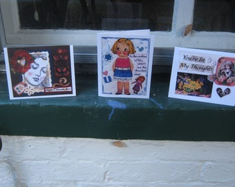 Handmade Greeting Cards - 3 for 3.00 EACH YOU PICK