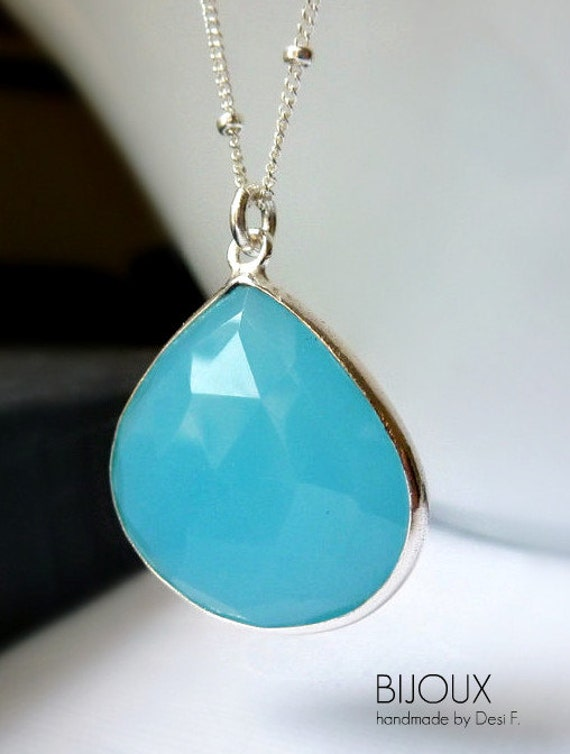 Aqua Blue Chalcedony Bezel Set Pendant Necklace -  925 Sterling Silver Beaded Chain....LIMITED EDITION