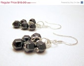 On Sale 50% OFF, Hematite Earrings, Industrial Earrings, Stone Earrings, Dangle Earrings, Wire Wrapped Earrings, Black Earrings, Beaded Ear