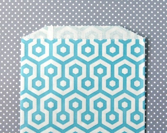 Aqua Blue Honeycomb Goody Bags / Favor Bags / Treat Bags (20) - 5 x 7.5 inches