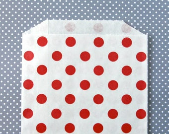 Red Polka Dot Goody Bags / Favor Bags / Treat Bags (20) - 5 x 7.5 inches