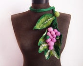 felt statement necklace, felt grapes and leaves felted eco friendly lariat