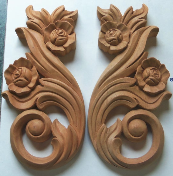 Onlays wood trim roses 7 inches architectural gingerbreads for Learning wood carving