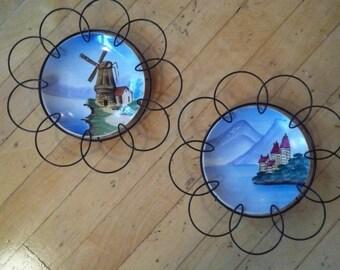 Sale - Vintage - Hand Painted Plates - Wire Frames -  Unique Wall Decor