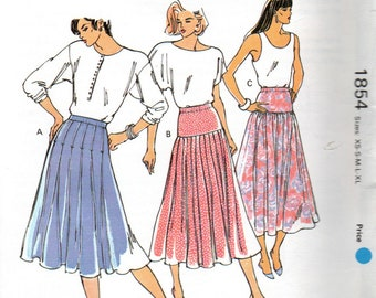 1854 Kwik Sew Uncut Discontinued Sewing Pattern Designed by Kerstin Martensson Misses Skirts Size XSmall, Small, Medium, Large, XLarge