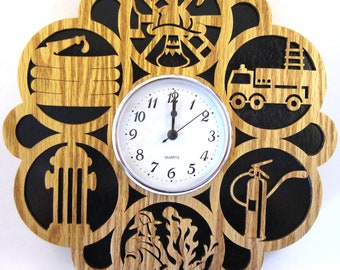 Firefighter wall clock, scroll saw cut, handmade, fretwork, wall decor, woodworking--26cl