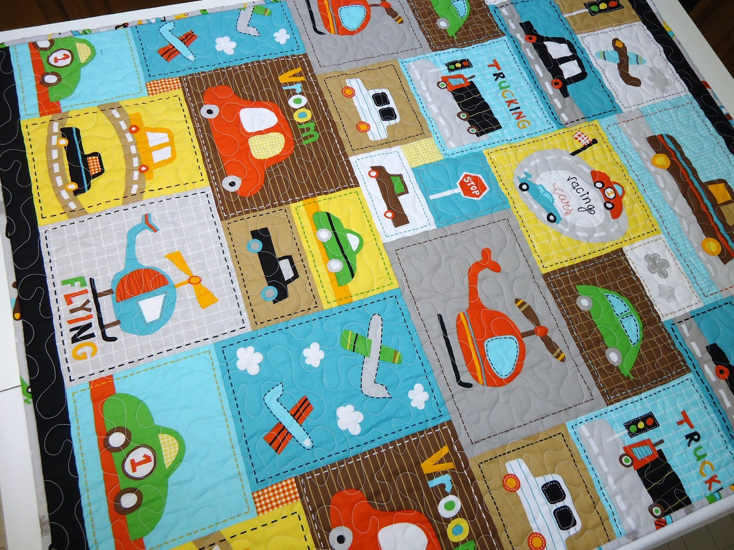 boy quilt baby vroom fabric cars trucks airplanes and