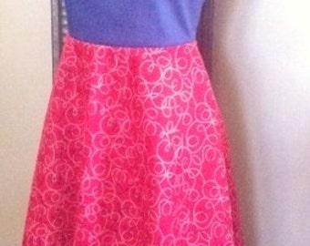 Red and Blue Flared Dress