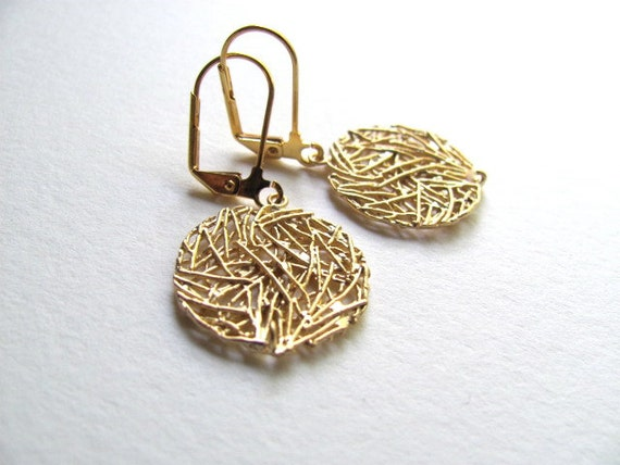 14k gold plate geometric circle dangle earrings, wire-wrapped golden robins nest