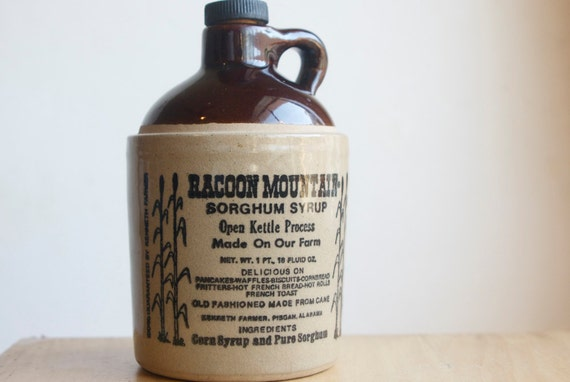 Little Brown Jug, Racoon Mountain Syrup, Rustic Decor
