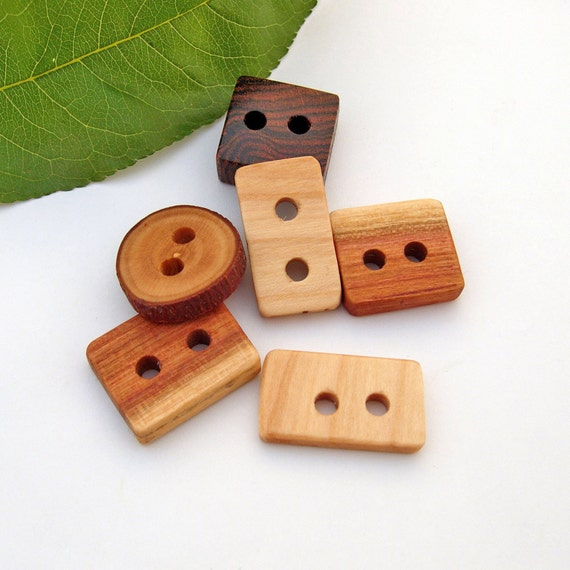 Wood Buttons -6 Wood Buttons for Knitting, Crocheting or any craft projects
