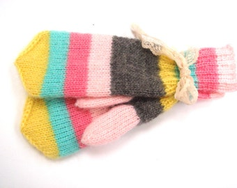 Rainbow Mittens, gift for her, winter gloves