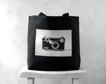 "The Argus C3 - Vintage Camera Photograph on a Black or Natural Canvas Bag - School Bag - Carryall Tote -  More info in ""Item Details"""