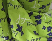 Cotton Fabric: Kathy Davis Happiness Sweet Words Indigo from Free Spirit Green Blue Floral - 1 YD - FabricFascination