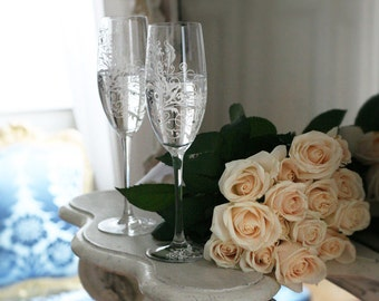 Hand painted Wedding Toasting Flutes Set of 2 Personalized Champagne glasses White ornaments with crystals