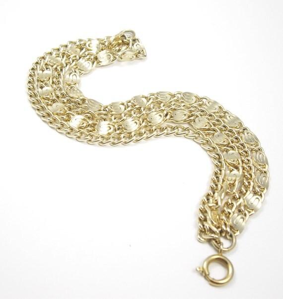 Vintage Gold Tone Multi Chain Bracelet-Gold Bracelet-Layered Bracelet-Multi Strand Bracelet