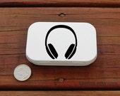 Black headphones earbuds tin - large white altoid hinged tin