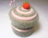 Cupcake Pincushion Felted Wool Upcycled Felted Wool Brown and Pink with Ribbon